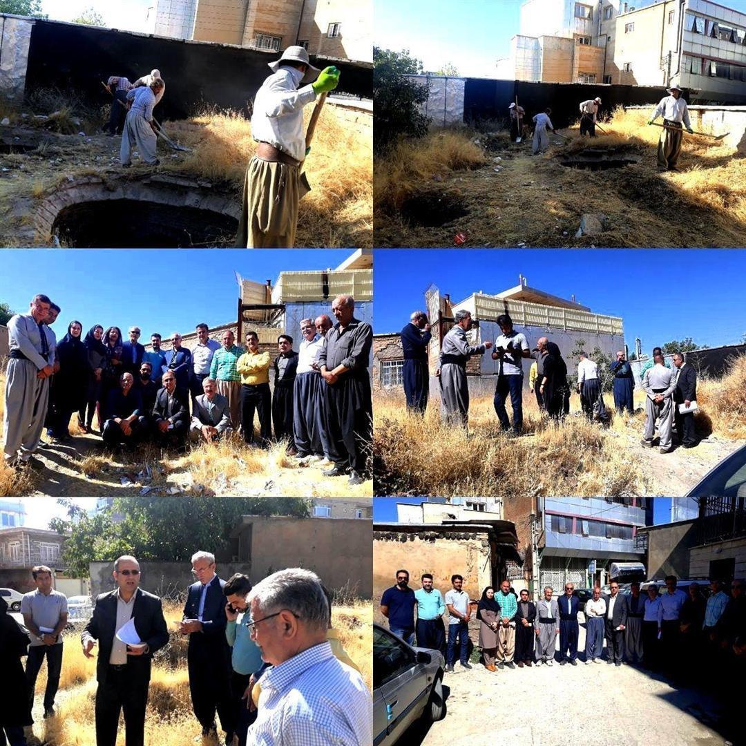 عملیات خاک برداری و پاک سازی حمام تاریخی مرزبانی بانه شروع شد