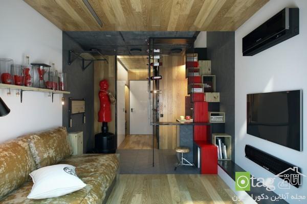 طراحی و دکوراسیون داخلی خانه آپارتمانی بسیار کوچک